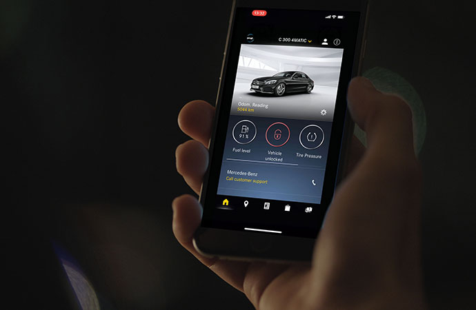 The Mercedes me app is displayed on a smartphone.