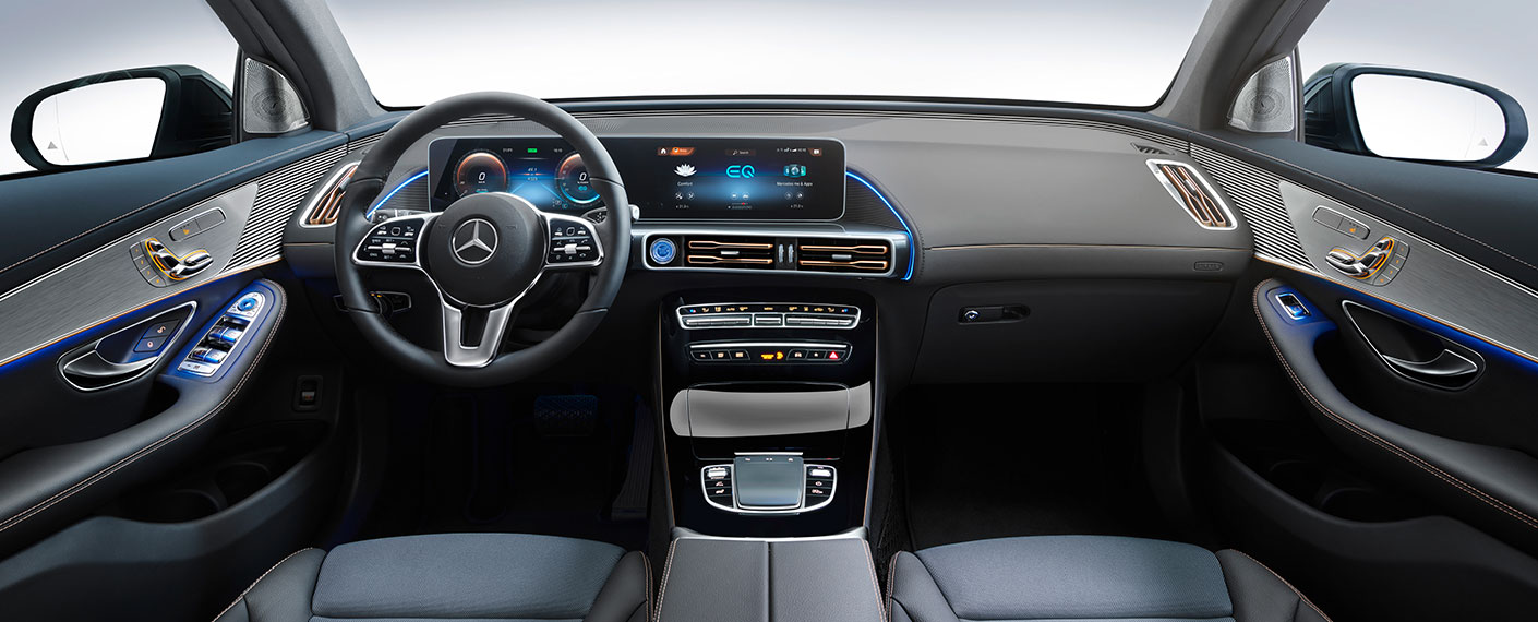 Interior shot of Mercedes-Benz EQC electric vehicle