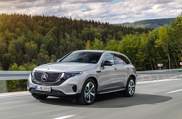 Scenic shot of the Mercedes-Benz EQC