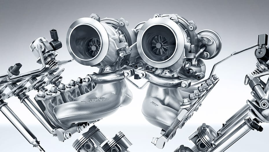 """Hot inside V"" turbocharger configuration"