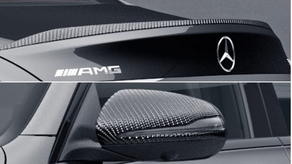 Carbon fibre exterior mirrors and rear spoiler