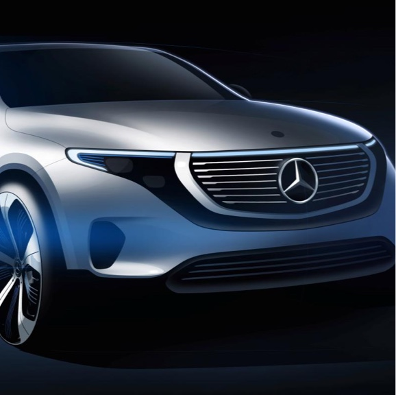 Display A futuristic concept sketch for the Mercedes-Benz EQC SUV.