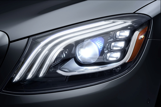 A close-up of an LED headlight.