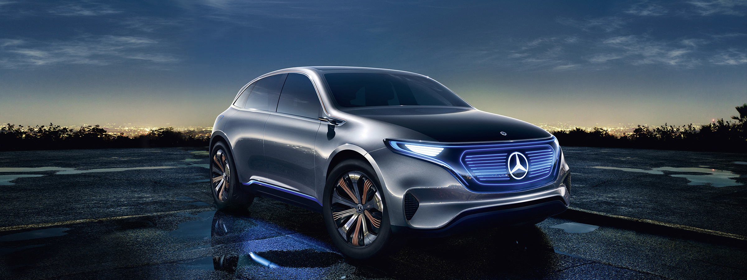 The Electric Intelligence concept car displays its digital grille and seamless design.